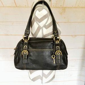 Fossil Pebbled Leather Hobo Shoulder Bag Purse